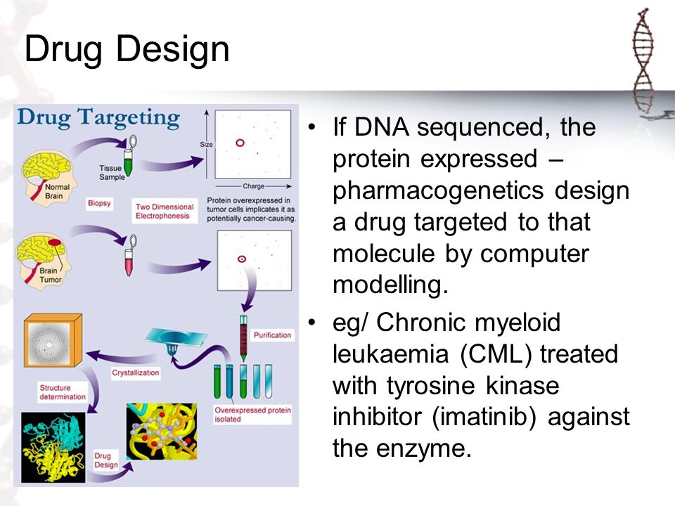 Drug Design If DNA sequenced, the protein expressed – pharmacogenetics design a drug targeted to that molecule by computer modelling.