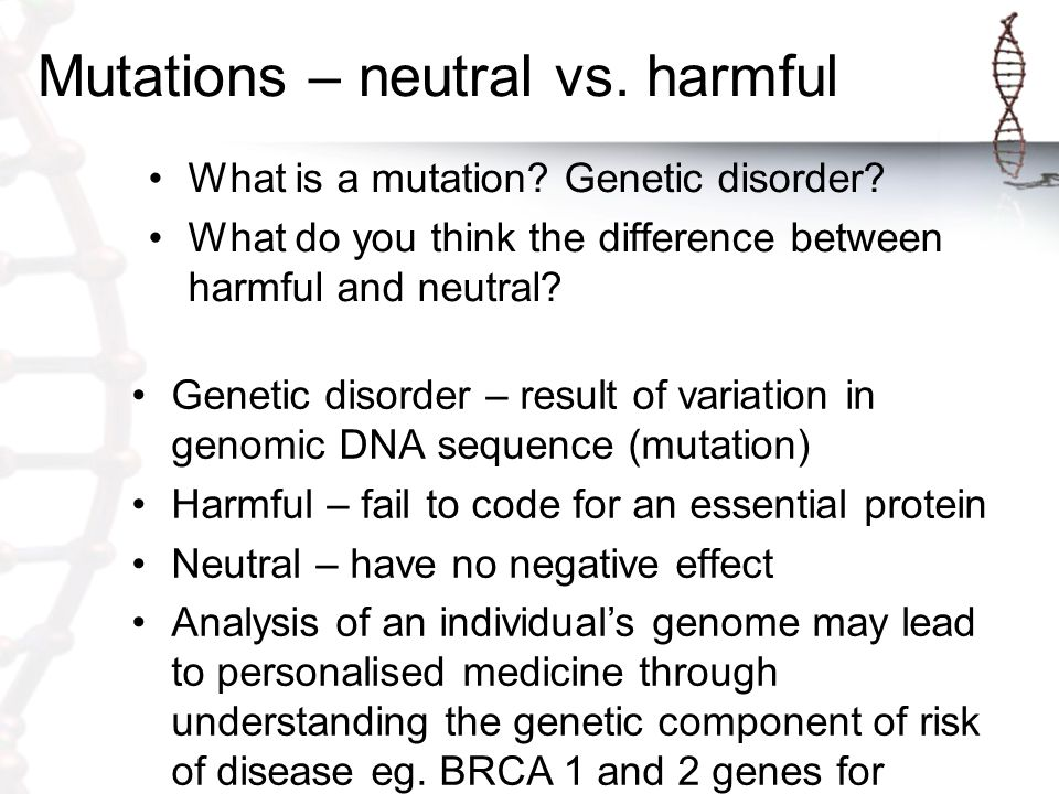 Mutations – neutral vs.