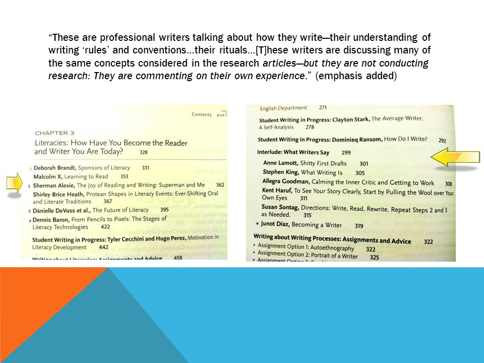 These are professional writers talking about how they write—their understanding of writing 'rules' and conventions…their rituals…[T]hese writers are discussing many of the same concepts considered in the research articles—but they are not conducting research: They are commenting on their own experience. (emphasis added)