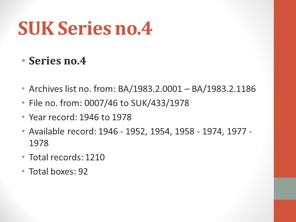 SUK Series no.4 Series no.4 Archives list no. from: BA/1983.2.0001 – BA/1983.2.1186 File no.