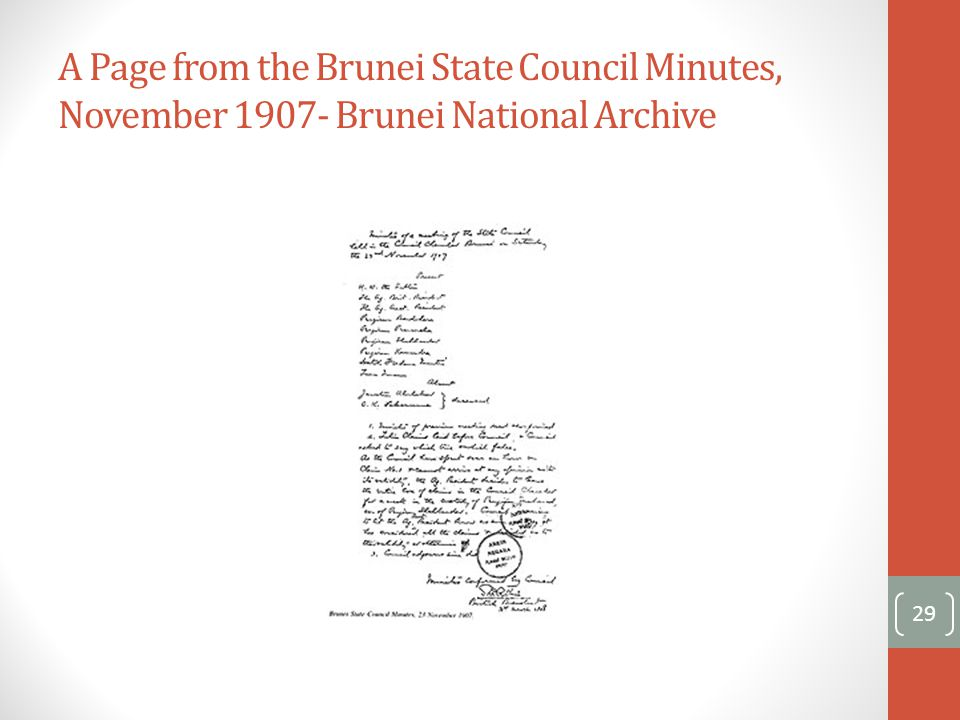 A Page from the Brunei State Council Minutes, November 1907- Brunei National Archive 29