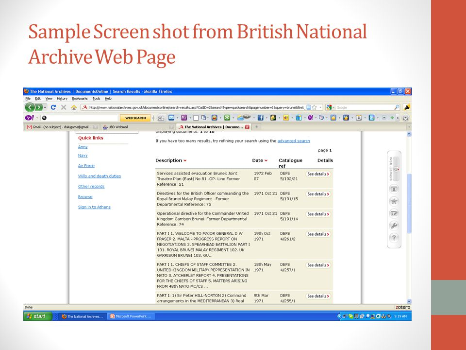 Sample Screen shot from British National Archive Web Page