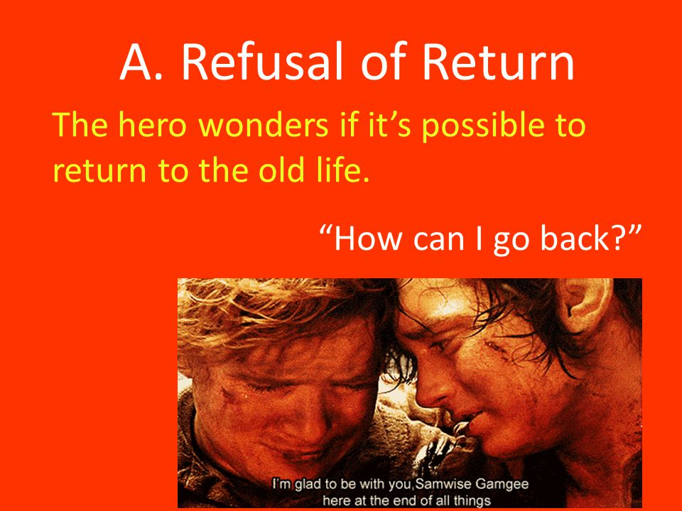 A. Refusal of Return The hero wonders if it's possible to return to the old life.