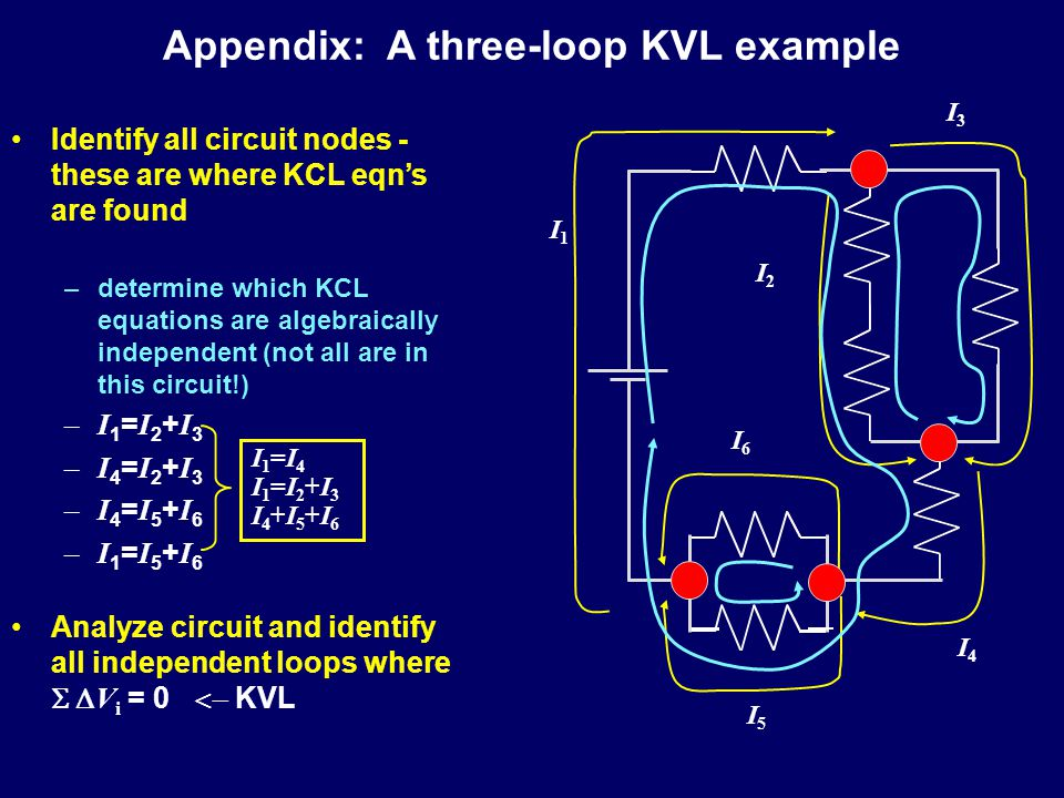 Summary Kirchhoff's Laws –KCL: Junction Rule (Charge is conserved) –Review KVL ( V is independent of path) Non-ideal Batteries & Power –Effective internal resistance limits current –Power generated () = Power dissipated ( ) –Power transmission most efficient at low current  high voltage Resistor-Capacitor Circuits –Capacitors resist rapid changes in Q  resist changes in V