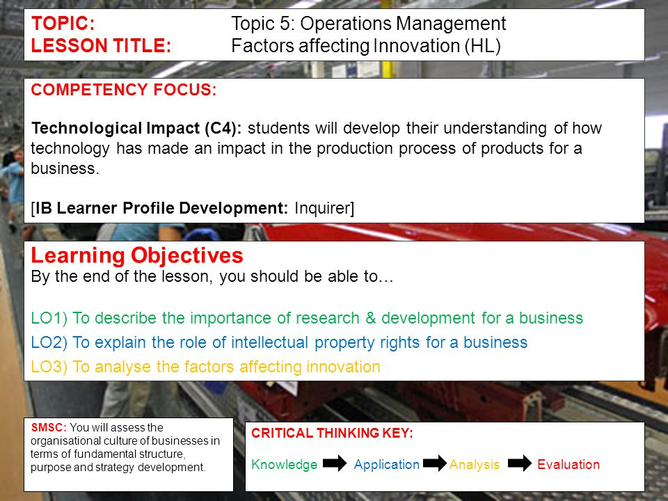 TOPIC:Topic 5: Operations Management LESSON TITLE:Factors affecting Innovation (HL) COMPETENCY FOCUS: Technological Impact (C4): students will develop their understanding of how technology has made an impact in the production process of products for a business.