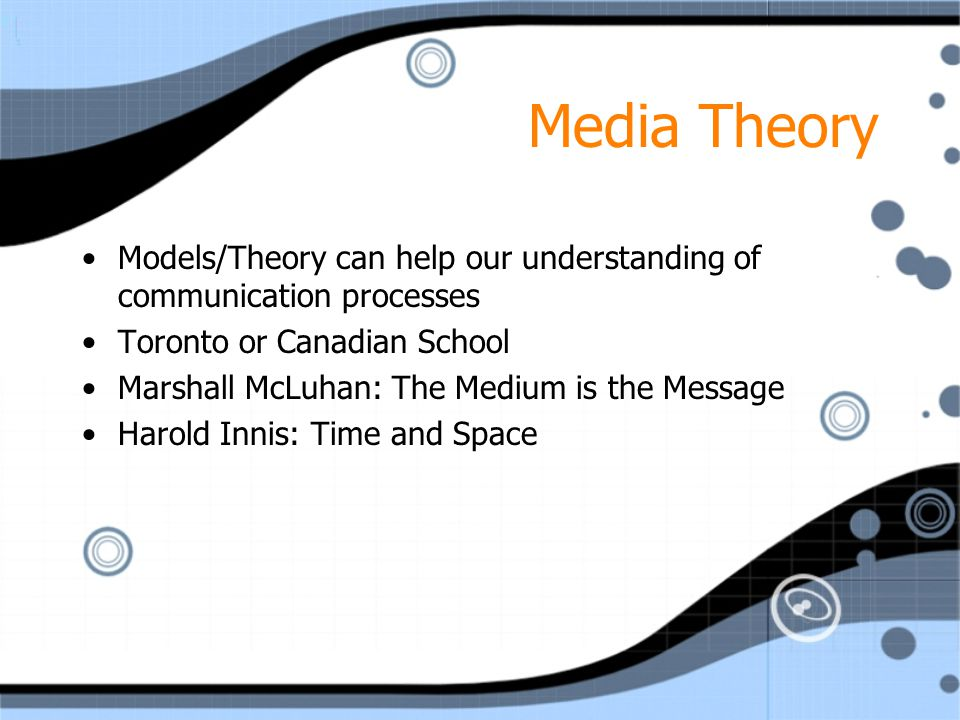 Media Theory Models/Theory can help our understanding of communication processes Toronto or Canadian School Marshall McLuhan: The Medium is the Message Harold Innis: Time and Space Models/Theory can help our understanding of communication processes Toronto or Canadian School Marshall McLuhan: The Medium is the Message Harold Innis: Time and Space