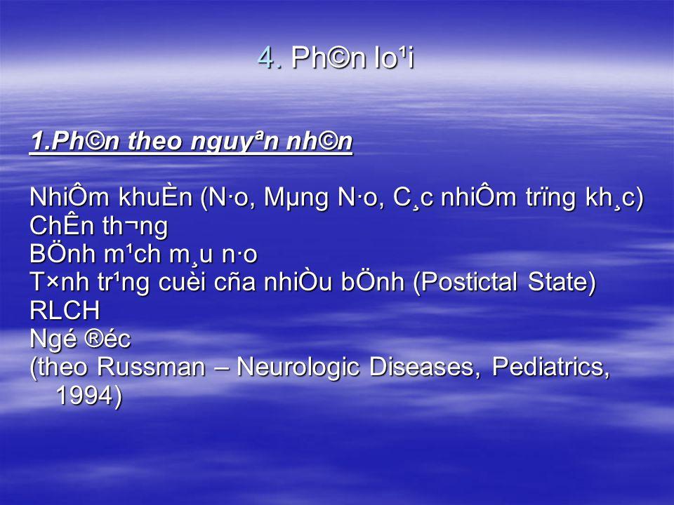 4. Ph©n lo¹i 1.Ph©n theo nguyªn nh©n NhiÔm khuÈn (N·o, Mµng N·o, C¸c nhiÔm trïng kh¸c) ChÊn th¬ng BÖnh m¹ch m¸u n·o T×nh tr¹ng cuèi cña nhiÒu bÖnh (P