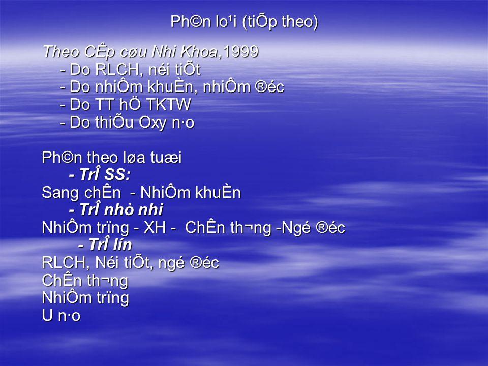 Ph©n lo¹i (tiÕp theo) Theo CÊp cøu Nhi Khoa,1999 - Do RLCH, néi tiÕt - Do nhiÔm khuÈn, nhiÔm ®éc - Do TT hÖ TKTW - Do thiÕu Oxy n·o Ph©n theo løa tuæi - TrÎ SS: - TrÎ SS: Sang chÊn - NhiÔm khuÈn - TrÎ nhò nhi - TrÎ nhò nhi NhiÔm trïng - XH - ChÊn th¬ng -Ngé ®éc - TrÎ lín - TrÎ lín RLCH, Néi tiÕt, ngé ®éc ChÊn th¬ng NhiÔm trïng U n·o