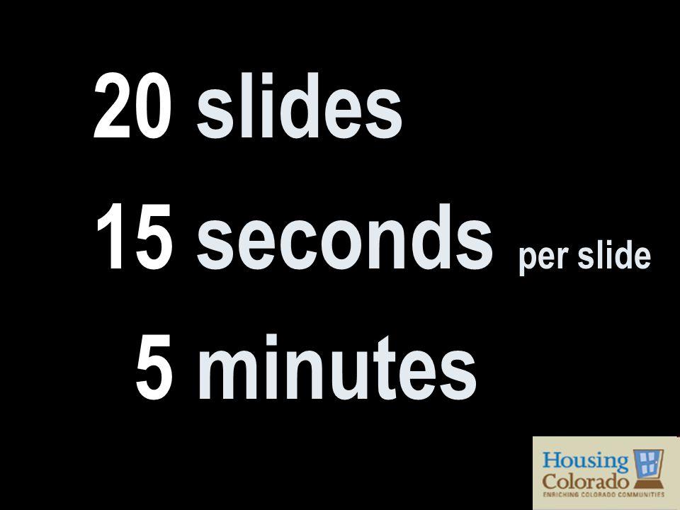20 slides 15 seconds per slide 5 minutes