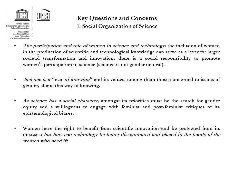Key Questions and Concerns 1.