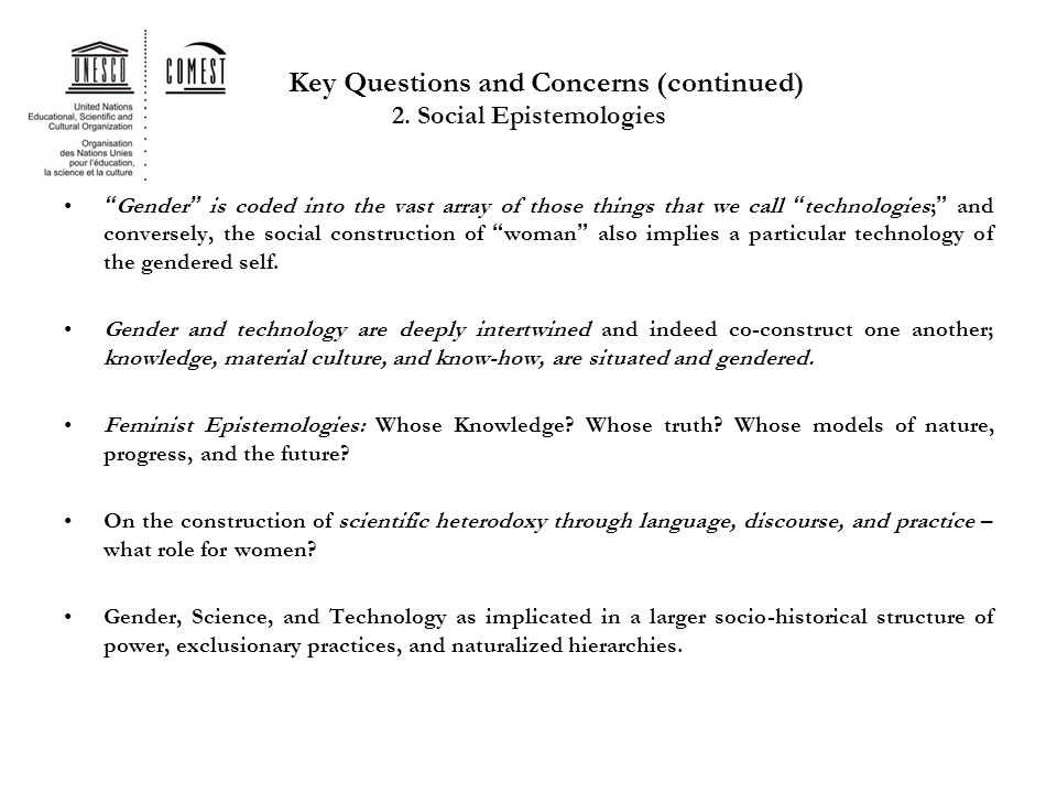 Key Questions and Concerns (continued) 2.