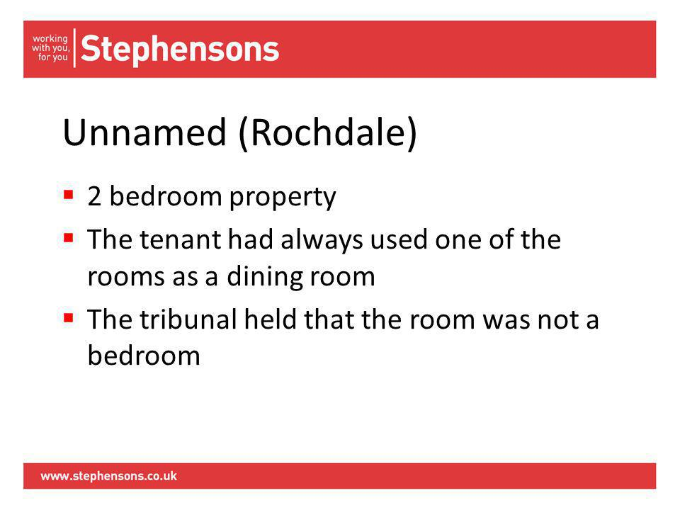 Unnamed (Rochdale)  2 bedroom property  The tenant had always used one of the rooms as a dining room  The tribunal held that the room was not a bedroom