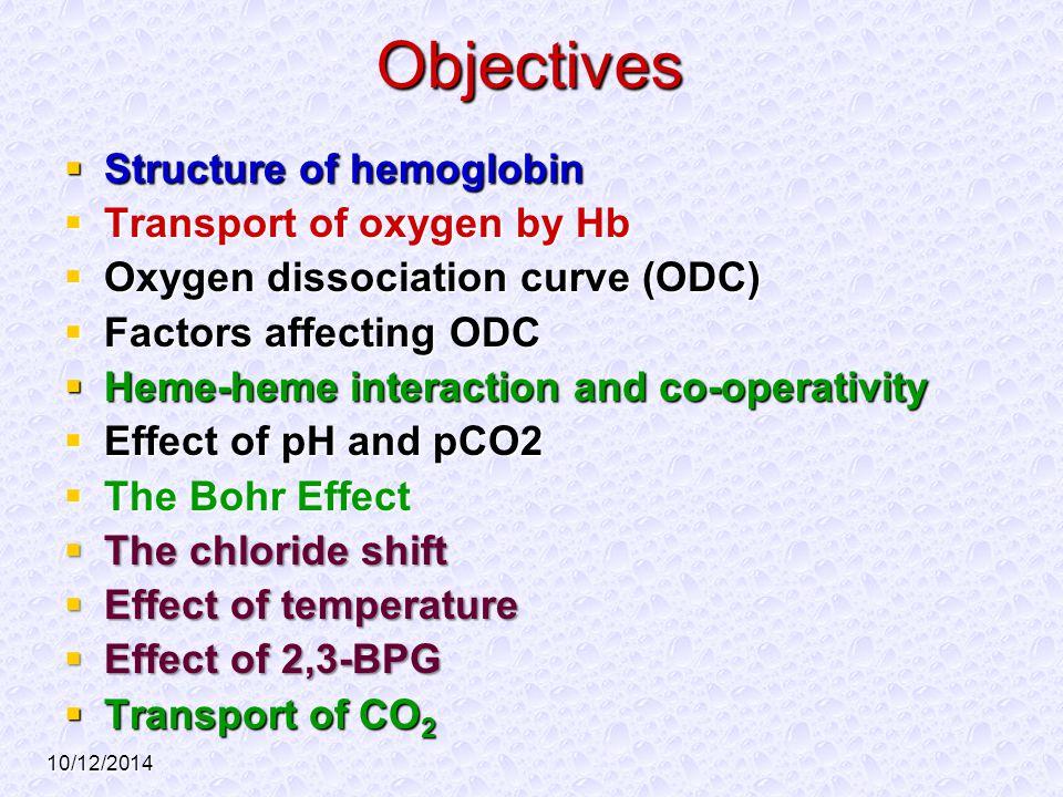 10/12/2014 Objectives  Structure of hemoglobin  Transport of oxygen by Hb  Oxygen dissociation curve (ODC)  Factors affecting ODC  Heme-heme inte