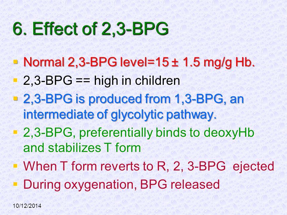 10/12/2014 6. Effect of 2,3-BPG  Normal 2,3-BPG level=15 ± 1.5 mg/g Hb.  2,3-BPG == high in children  2,3-BPG is produced from 1,3-BPG, an intermed