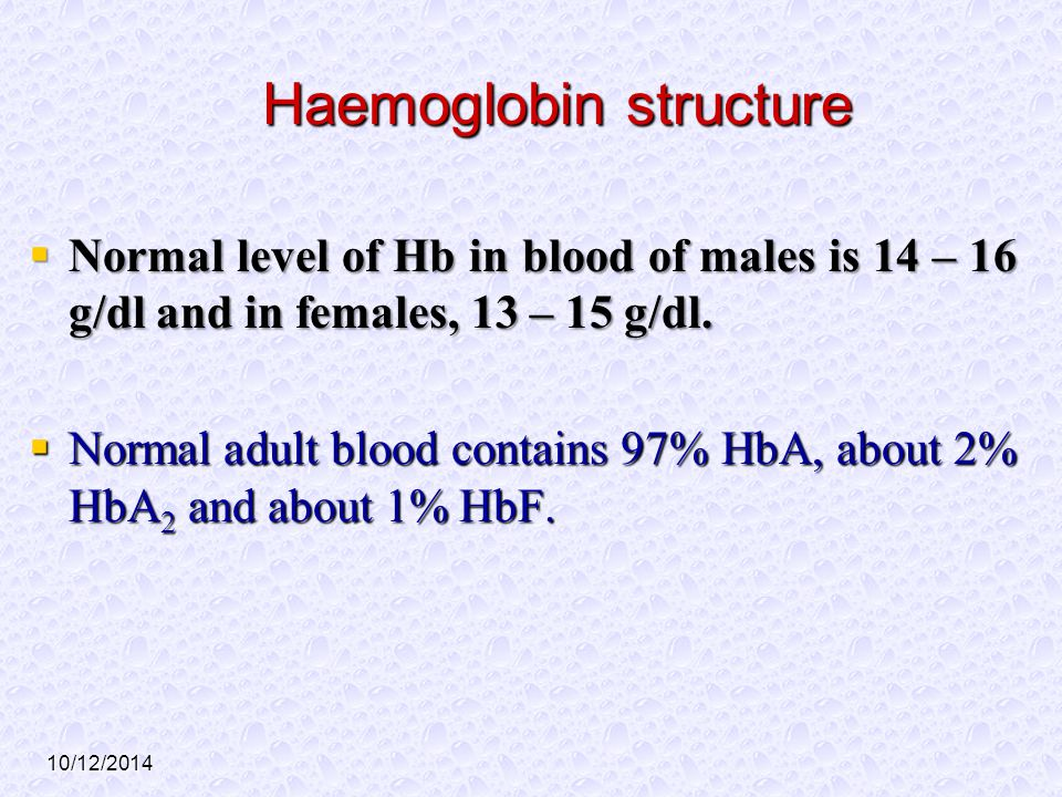 10/12/2014 Haemoglobin structure  Normal level of Hb in blood of males is 14 – 16 g/dl and in females, 13 – 15 g/dl.  Normal adult blood contains 97