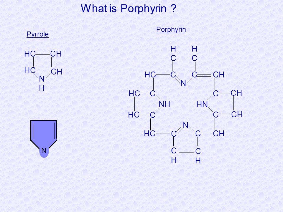 CHHC NH C N CH HC NHNH C HCHC CC N HCHC CH HN CC CH C HC C CHCH CHCH Pyrrole Porphyrin What is Porphyrin ? N