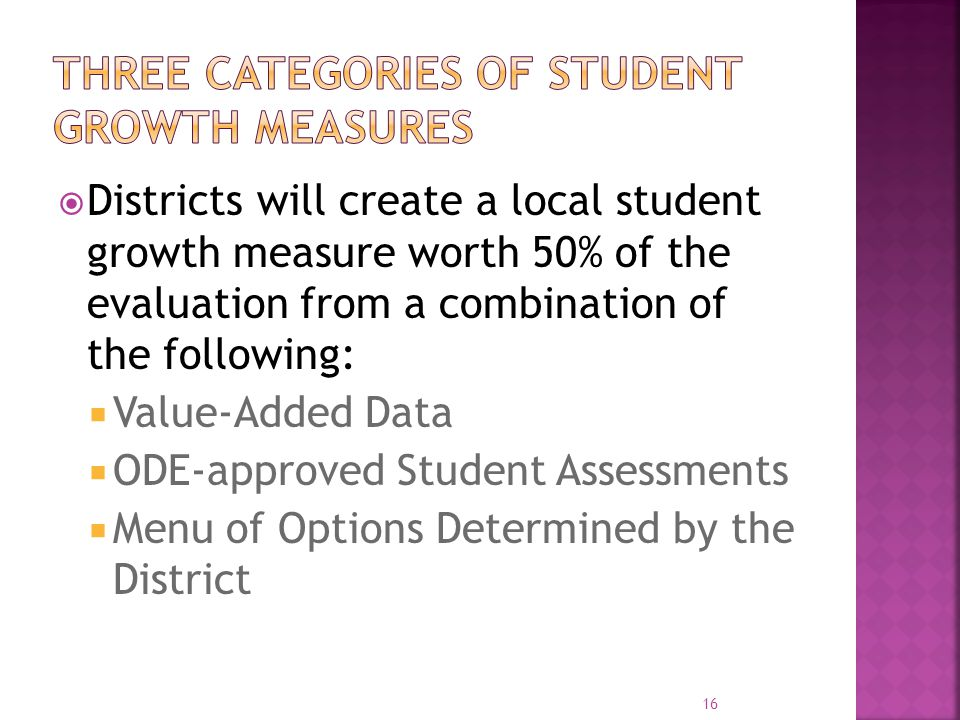  Districts will create a local student growth measure worth 50% of the evaluation from a combination of the following:  Value-Added Data  ODE-appro