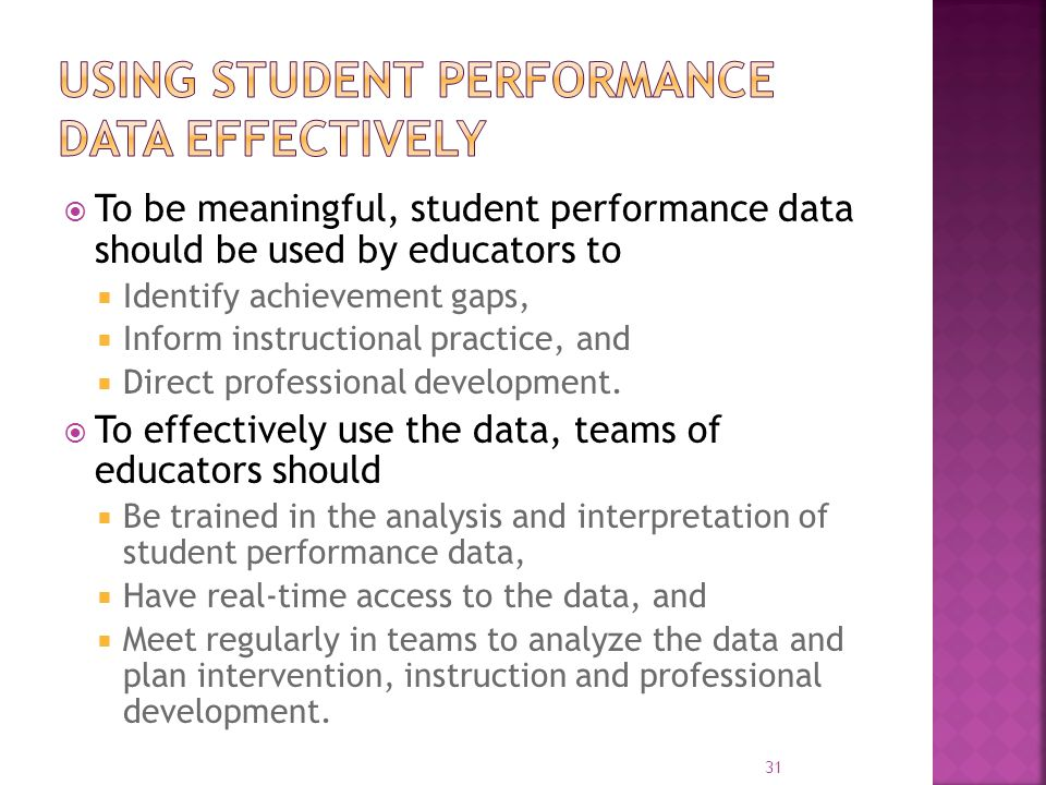  To be meaningful, student performance data should be used by educators to  Identify achievement gaps,  Inform instructional practice, and  Direct