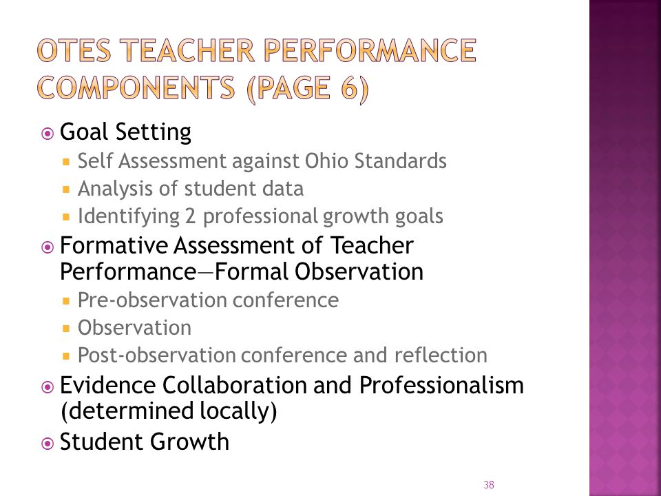  Goal Setting  Self Assessment against Ohio Standards  Analysis of student data  Identifying 2 professional growth goals  Formative Assessment of