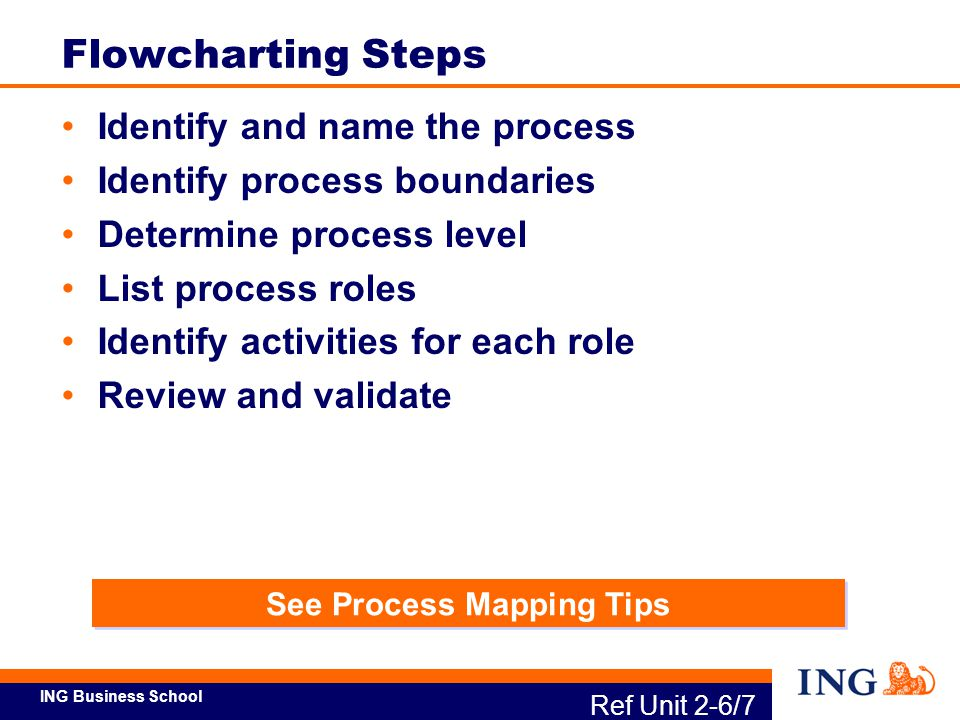 ING Business School See Process Mapping Tips Ref Unit 2-6/7 Flowcharting Steps Identify and name the process Identify process boundaries Determine pro