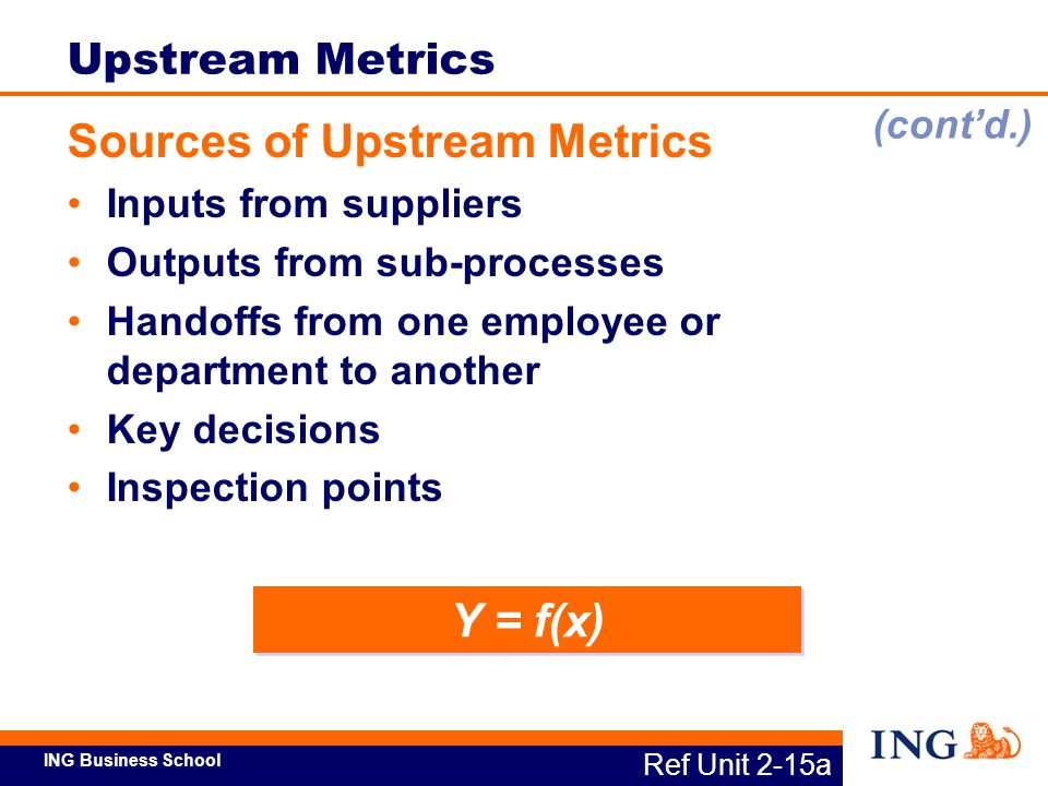 ING Business School Y = f(x) Ref Unit 2-15a Upstream Metrics Sources of Upstream Metrics Inputs from suppliers Outputs from sub-processes Handoffs fro