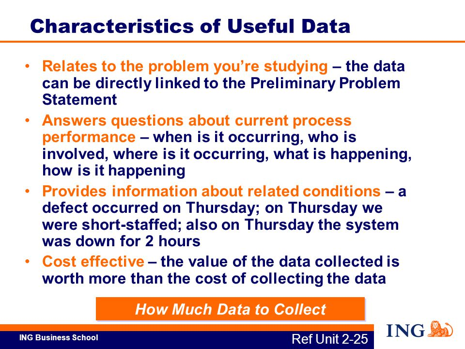 ING Business School Relates to the problem you're studying – the data can be directly linked to the Preliminary Problem Statement Answers questions ab