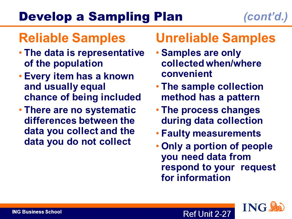 ING Business School Ref Unit 2-27 Develop a Sampling Plan Reliable Samples The data is representative of the population Every item has a known and usu