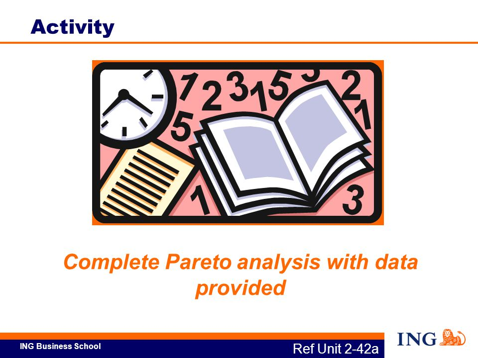ING Business School Complete Pareto analysis with data provided Ref Unit 2-42a Activity