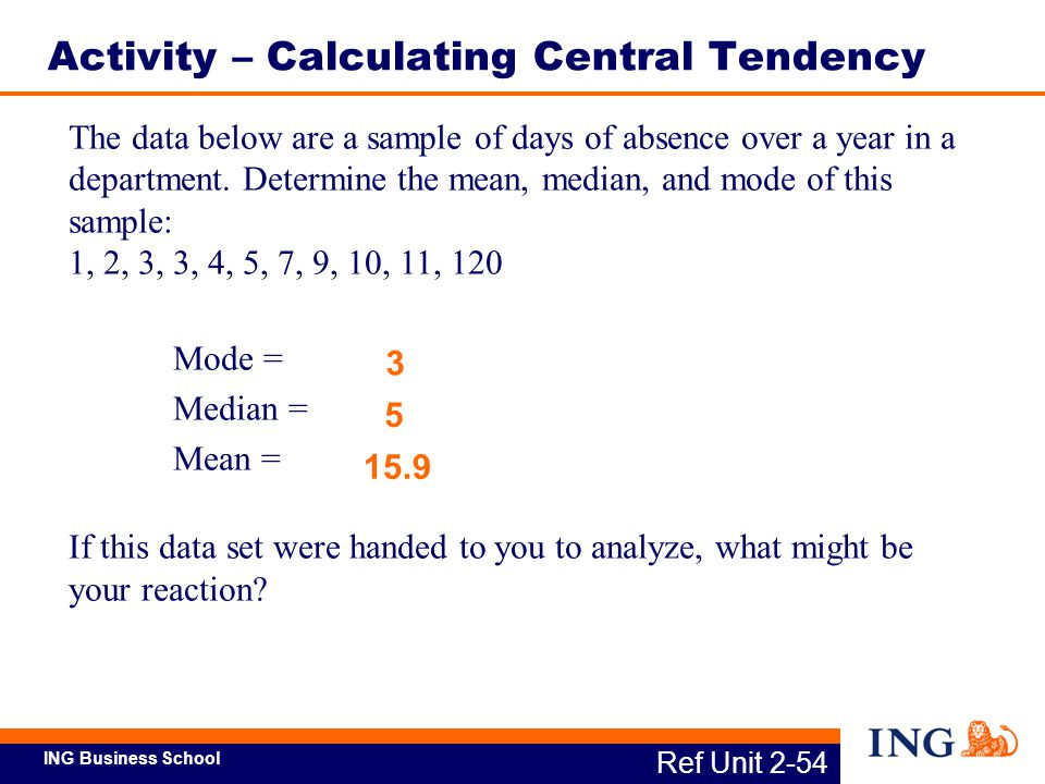ING Business School The data below are a sample of days of absence over a year in a department. Determine the mean, median, and mode of this sample: 1