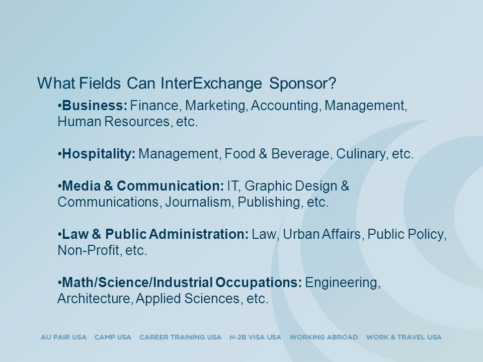 What Fields Can InterExchange Sponsor.