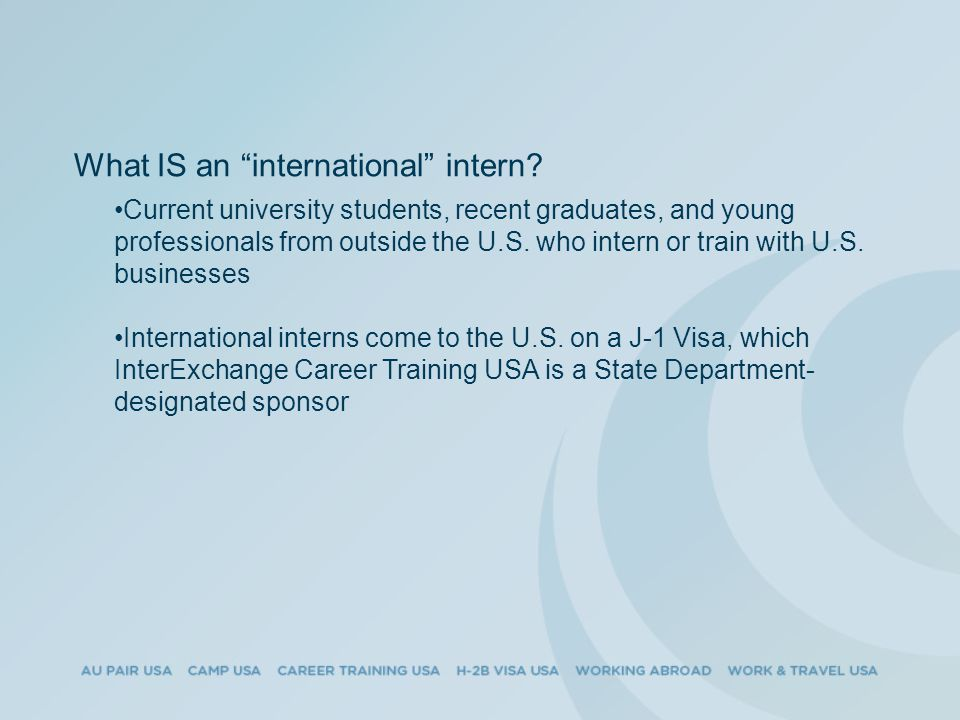 What IS an international intern.