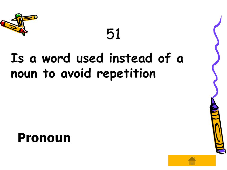 51 Is a word used instead of a noun to avoid repetition Pronoun