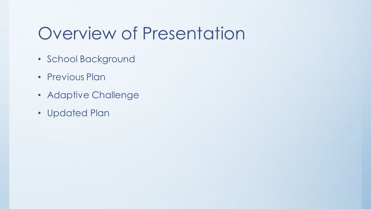Overview of Presentation School Background Previous Plan Adaptive Challenge Updated Plan