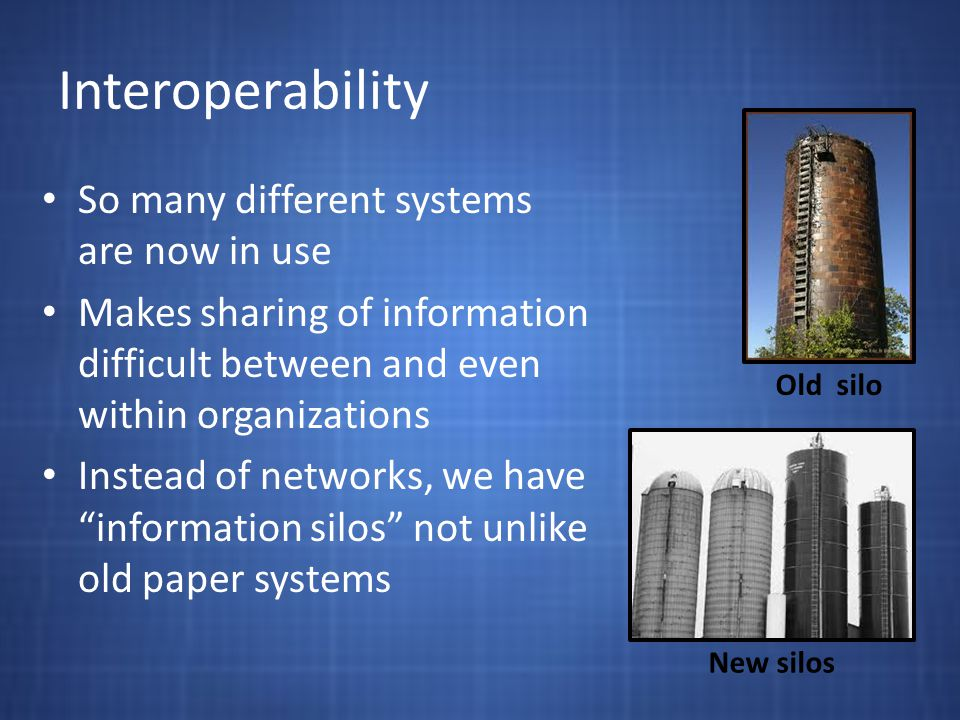 Interoperability So many different systems are now in use Makes sharing of information difficult between and even within organizations Instead of networks, we have information silos not unlike old paper systems Old silo New silos