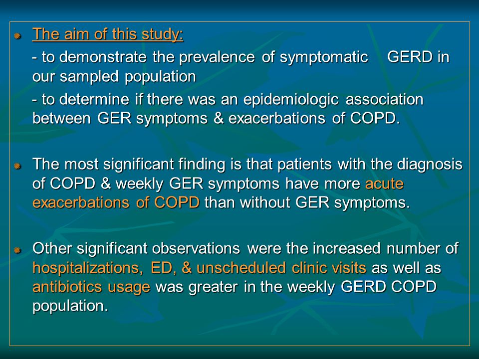 The aim of this study: - to demonstrate the prevalence of symptomatic GERD in our sampled population - to demonstrate the prevalence of symptomatic GE