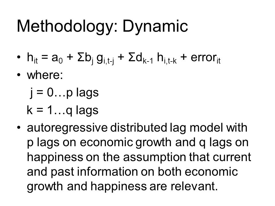 Methodology: Dynamic h it = a 0 + Σb j g i,t-j + Σd k-1 h i,t-k + error it where: j = 0…p lags k = 1…q lags autoregressive distributed lag model with