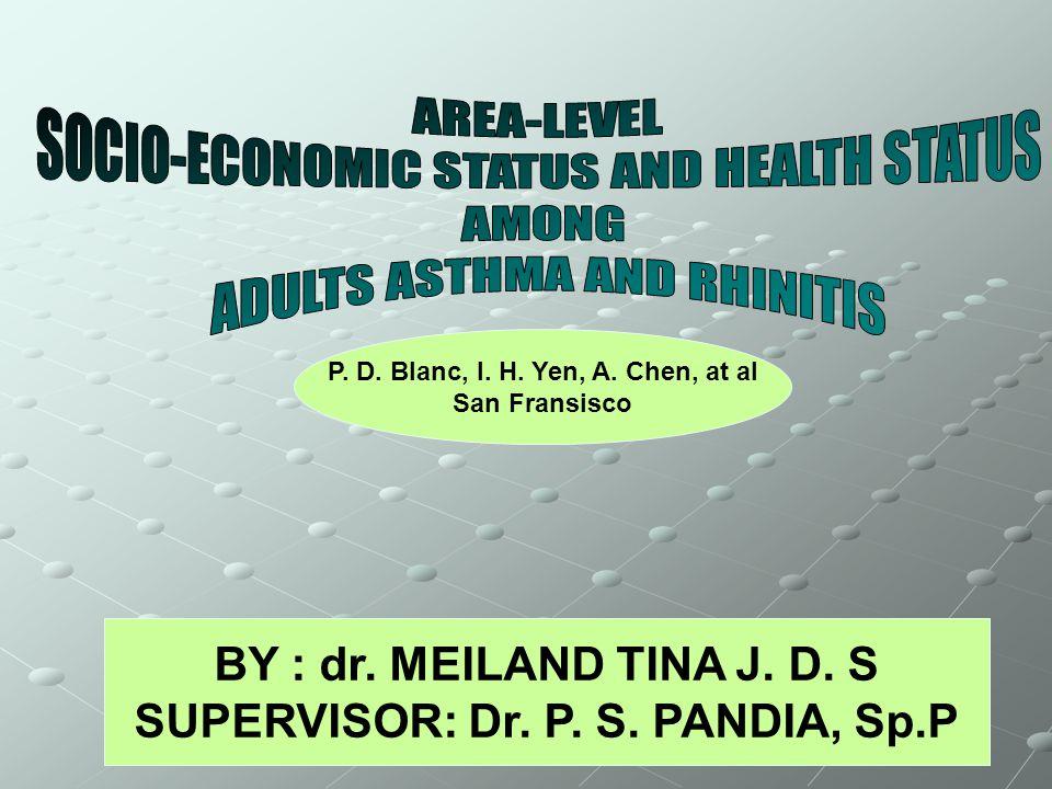BY : dr. MEILAND TINA J. D. S SUPERVISOR: Dr. P.