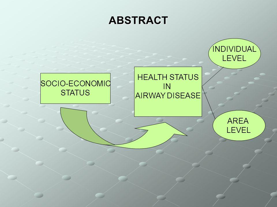 ABSTRACT SOCIO-ECONOMIC STATUS HEALTH STATUS IN AIRWAY DISEASE INDIVIDUAL LEVEL AREA LEVEL