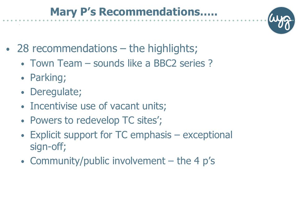 Mary P's Recommendations…..