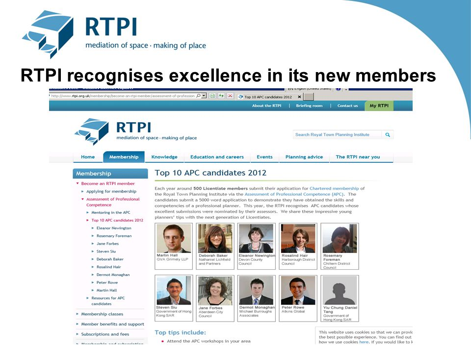 RTPI recognises excellence in its new members