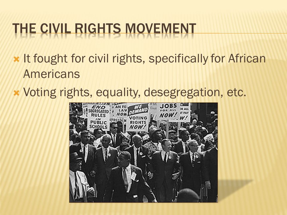  It fought for civil rights, specifically for African Americans  Voting rights, equality, desegregation, etc.