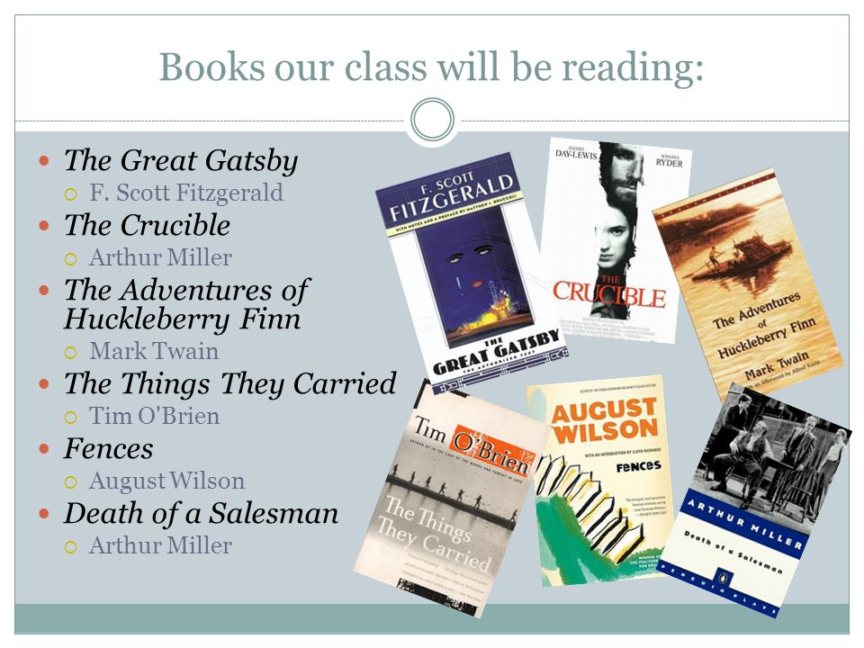 Books our class will be reading: The Great Gatsby  F.