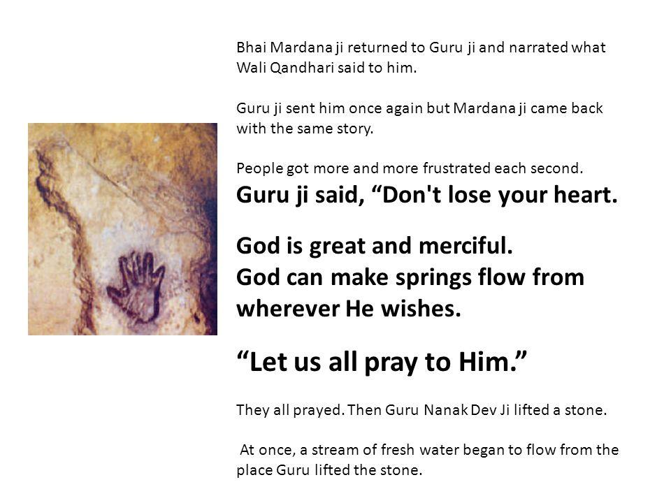 Bhai Mardana ji returned to Guru ji and narrated what Wali Qandhari said to him.