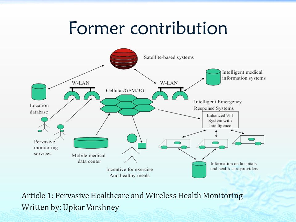 Former contribution Article 1: Pervasive Healthcare and Wireless Health Monitoring Written by: Upkar Varshney