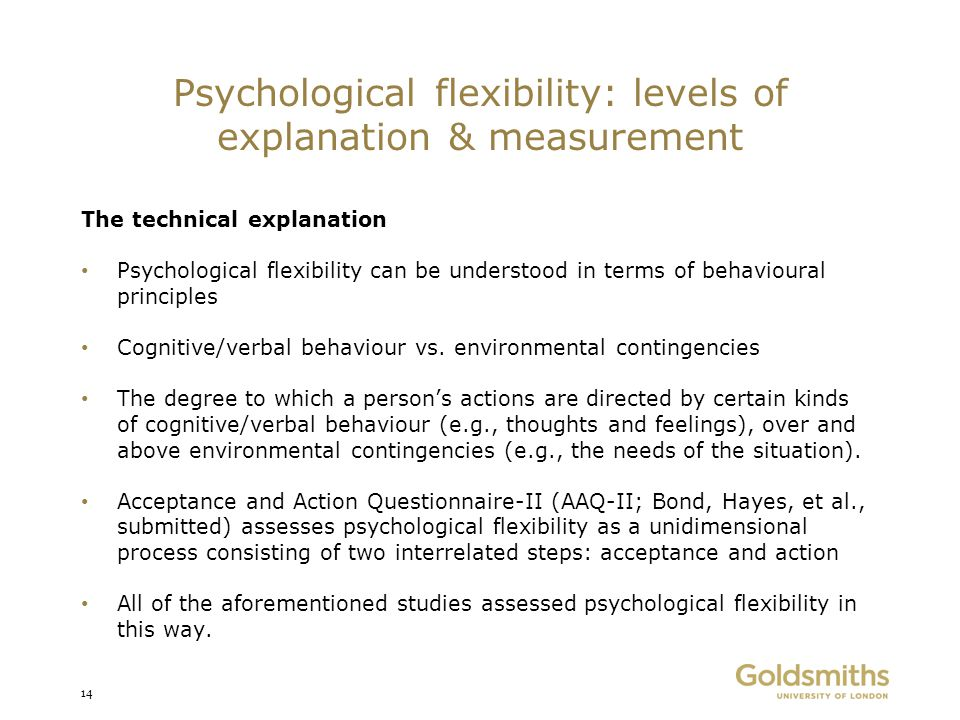 Psychological flexibility: levels of explanation & measurement The technical explanation Psychological flexibility can be understood in terms of behav