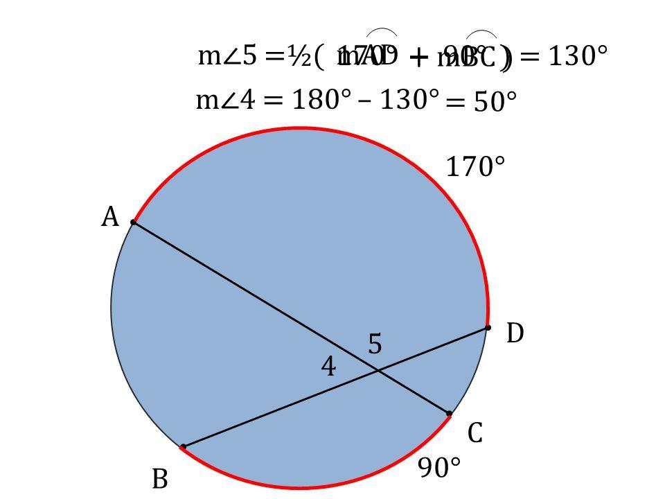 A B D C 4 m∠5=½( mAD+ mBC ) 170° 90° 170°+ 90° )= 130° 5 m∠4 = 180° – 130° = 50°