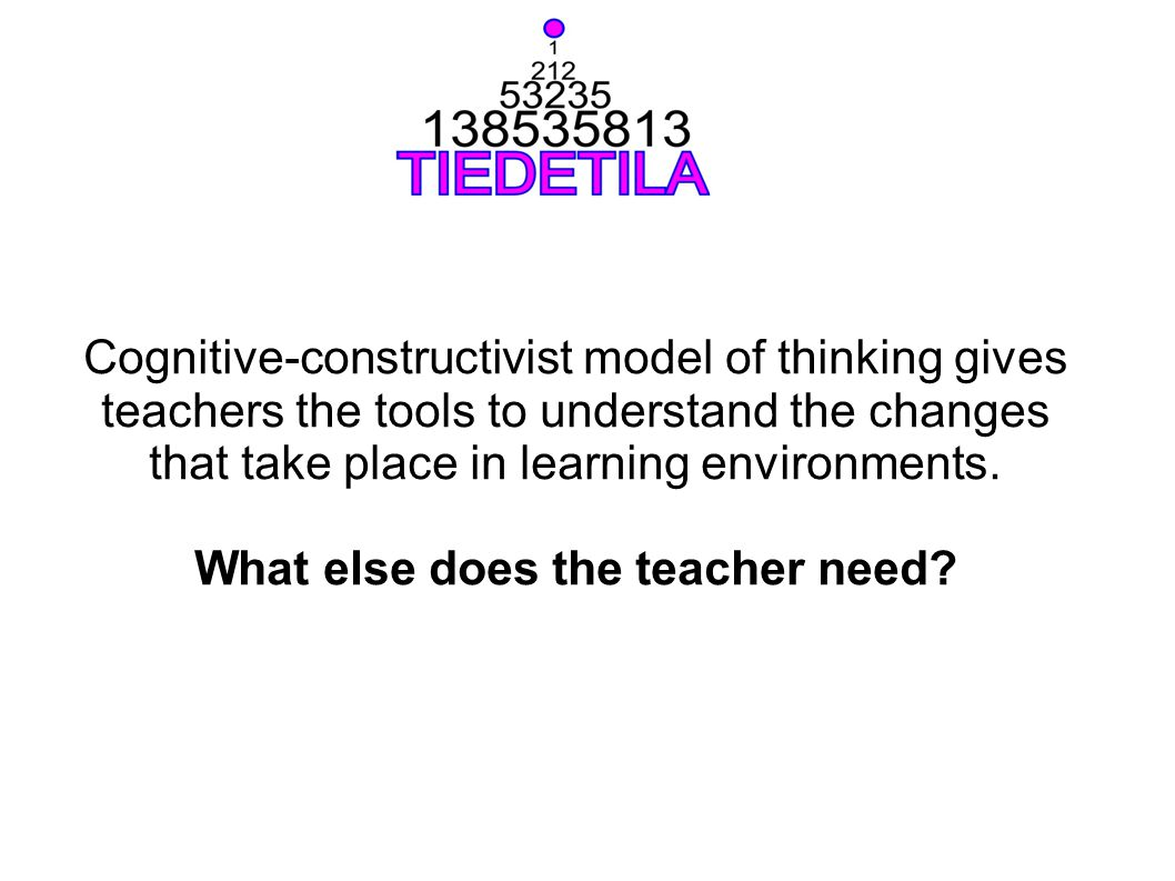 Cognitive-constructivist model of thinking gives teachers the tools to understand the changes that take place in learning environments. What else does