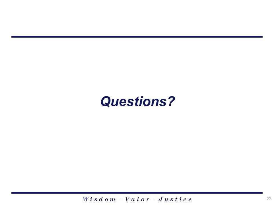 W i s d o m - V a l o r - J u s t i c e 22 Questions