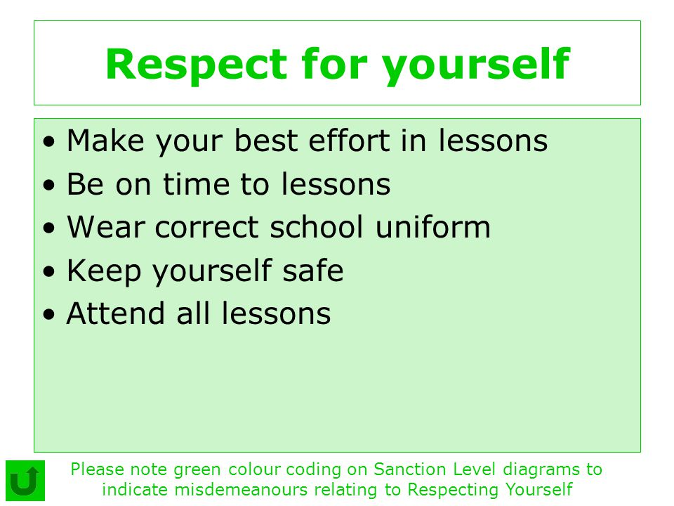 Respect for yourself Make your best effort in lessons Be on time to lessons Wear correct school uniform Keep yourself safe Attend all lessons Please n
