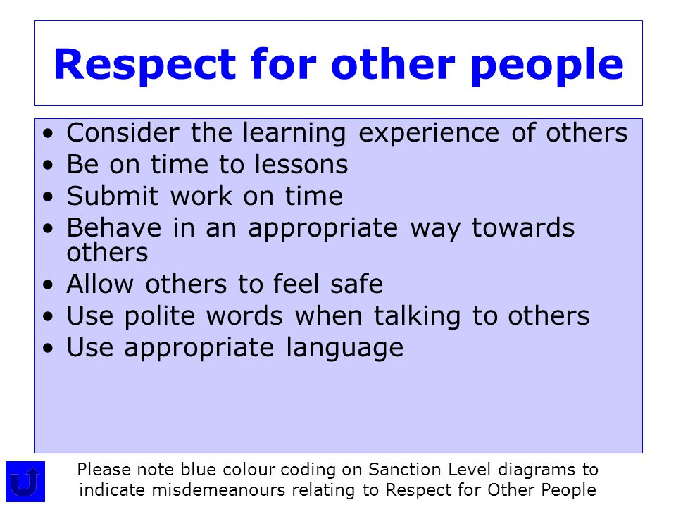 Respect for other people Consider the learning experience of others Be on time to lessons Submit work on time Behave in an appropriate way towards others Allow others to feel safe Use polite words when talking to others Use appropriate language Please note blue colour coding on Sanction Level diagrams to indicate misdemeanours relating to Respect for Other People